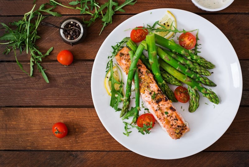 Salmon dinner with greens