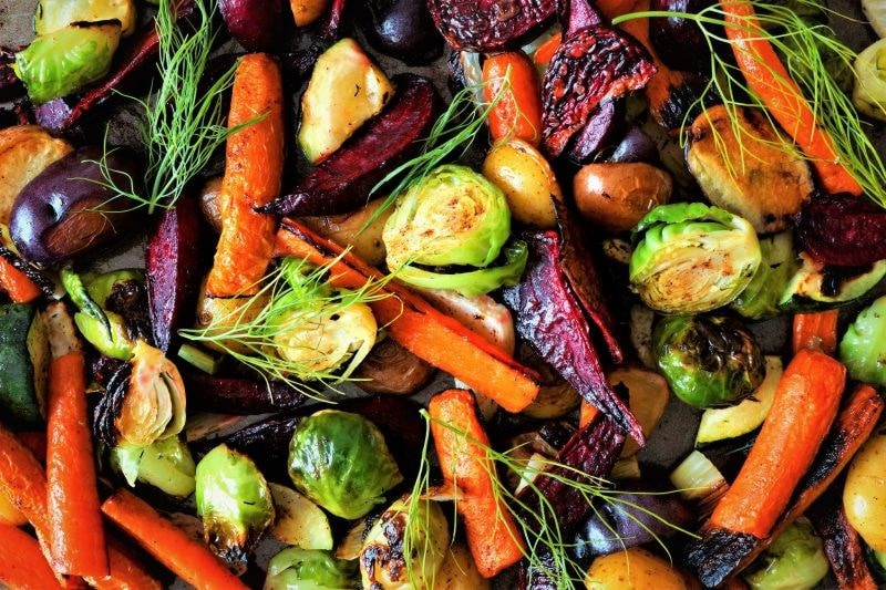 rainbow of roast vegetables