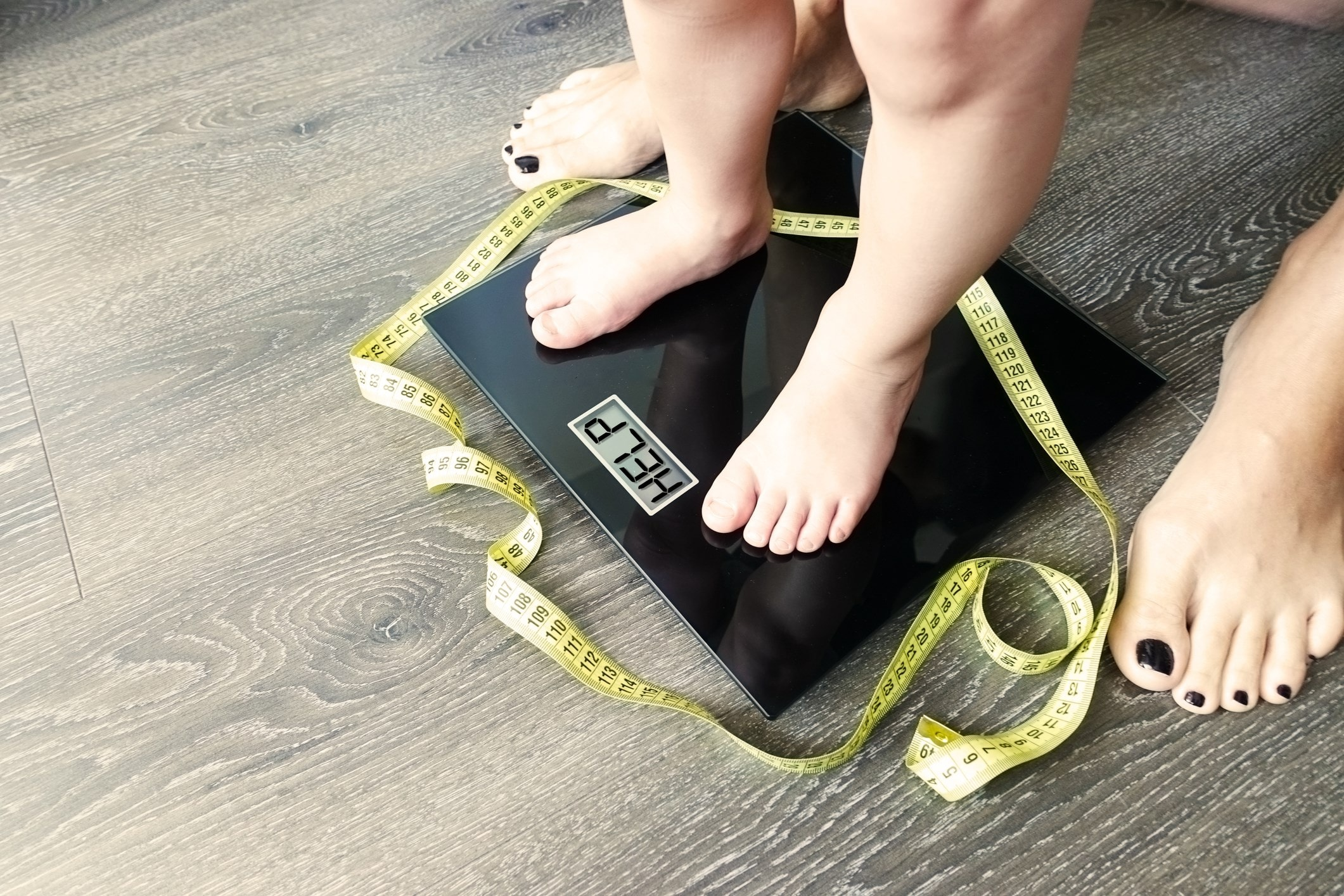 Weighing scales reading 'Help'