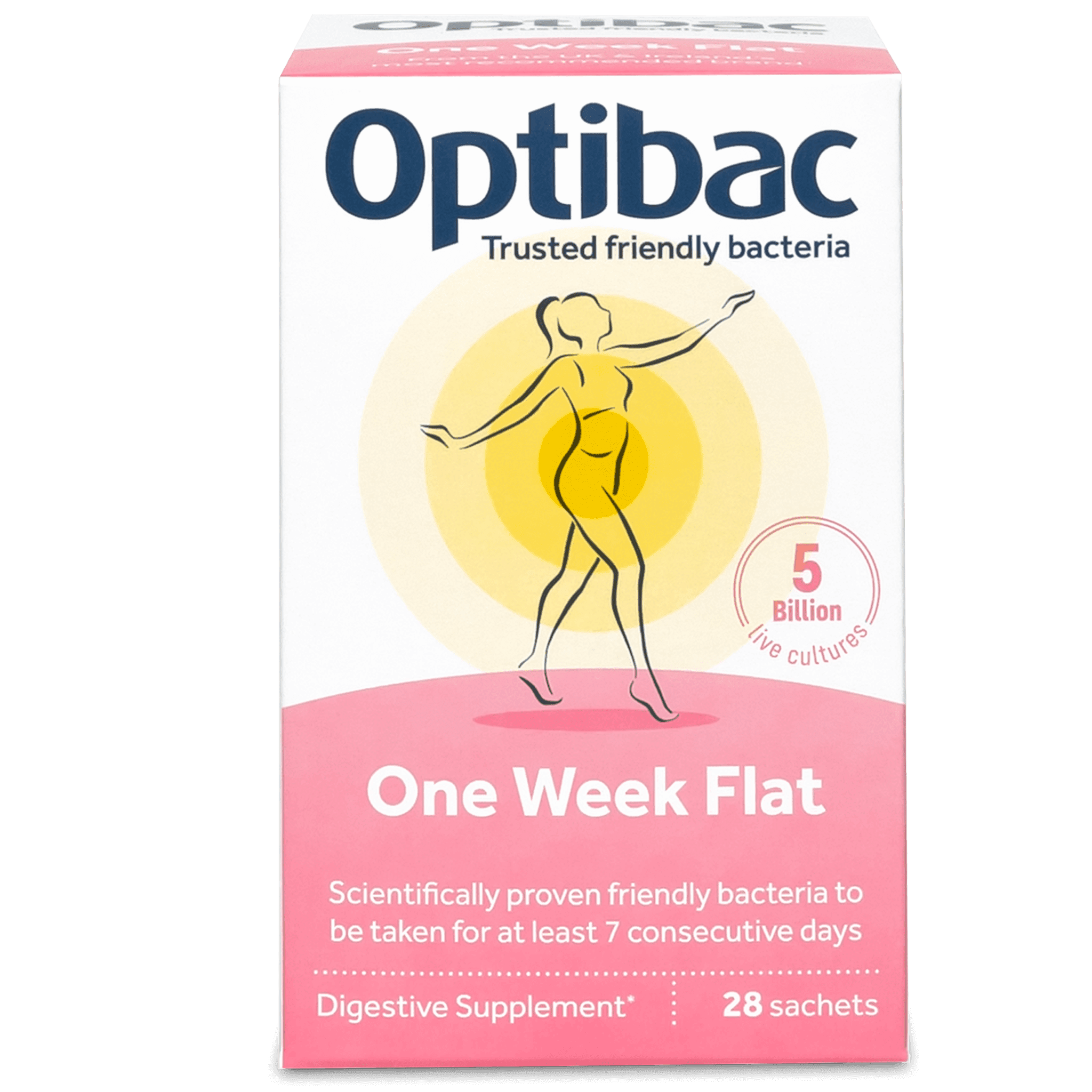 Optibac Probiotics One week flat (28 sachets) pack front