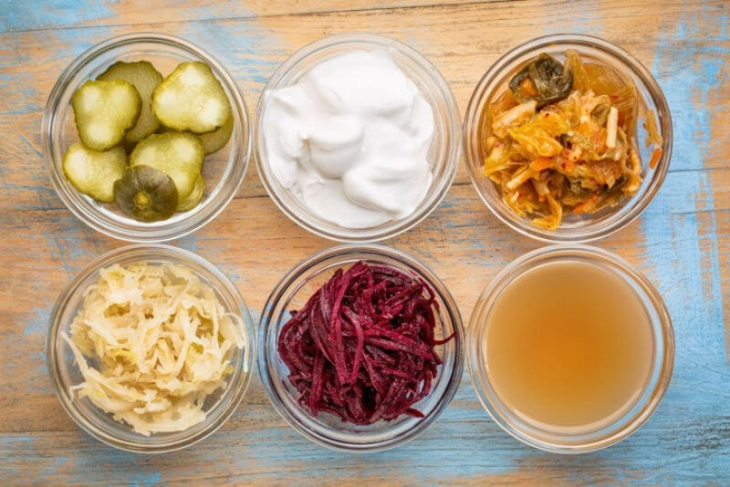 Fermented foods include sauerkraut, kombucha and kefir