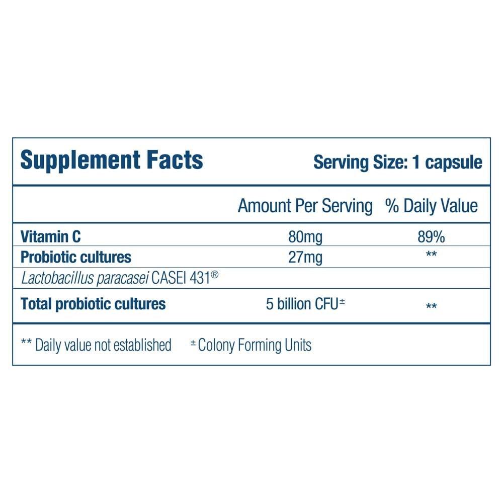 Optibac Immune Support Supplement fact panel